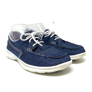 Skechers Go Step Lace Up Denim Boat Shoes